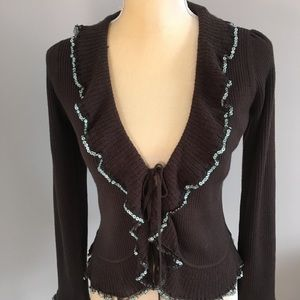 Betsey Johnson NY Brown Sequin Trimming sweater L